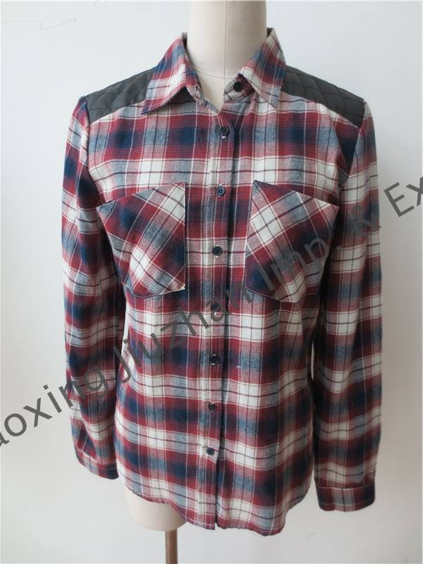 women's cotton check long sleeve shirts