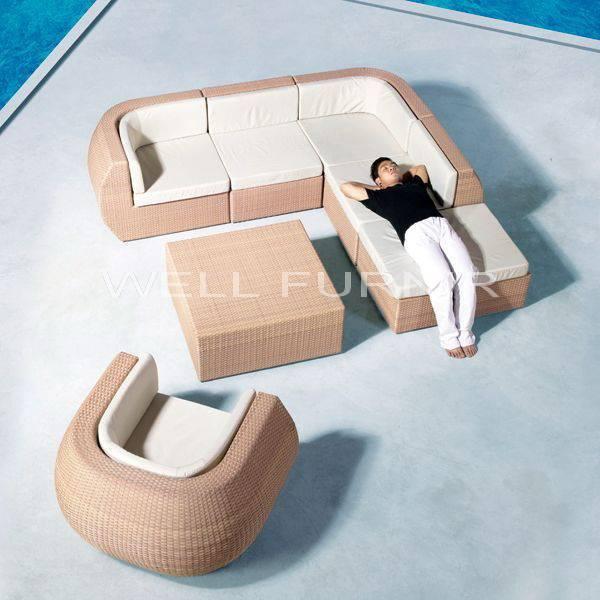 Well Furnir Company Limited Supply Rattan Patio Wicker Sectional Sofa Set WF-7573