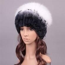 Fox Pom Knitted Genuine Fur Women Elastic Mink Fur Hat