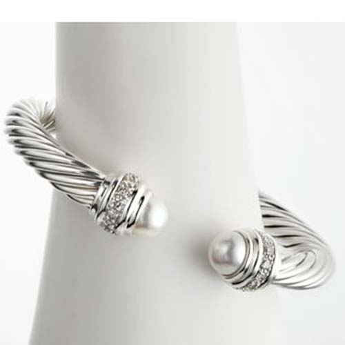 High Quality Sterling Silver DY 7mm Pearl Silver Ice Bracelet
