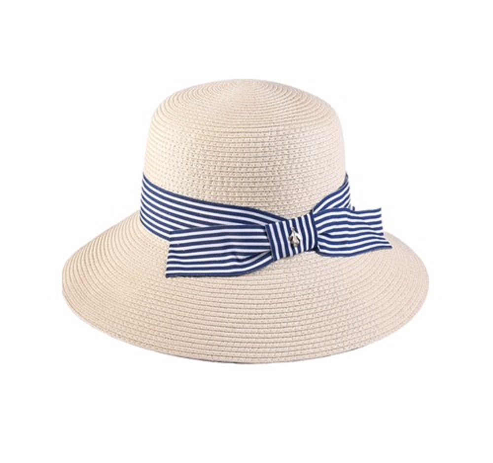 paper braid bucket hat with bowknot