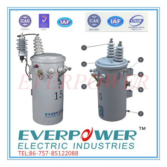 Pole mounted power distribution transformer