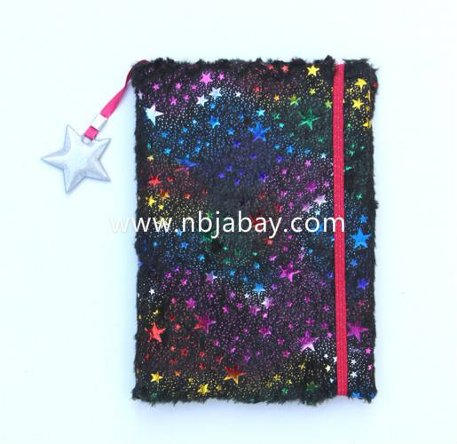 glitter star plush journal with elastic band and charm