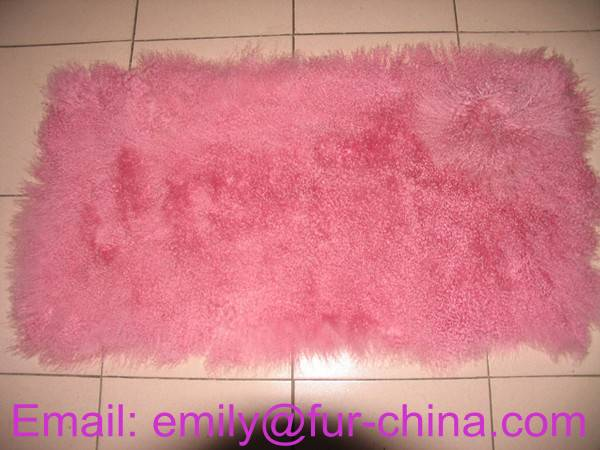 Dyed Pink Mongolian Lamb Fur Plate