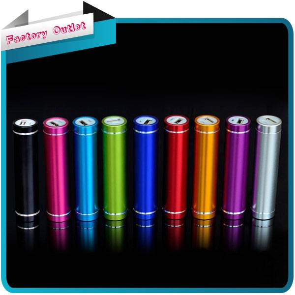 cylindrical Portable 2600mAh USB External Battery Pack Mobile Power Bank With LED Torch