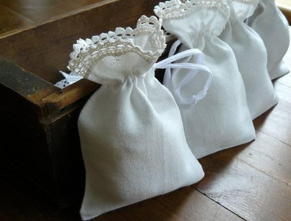 Linen lace bordered lavener gift bag