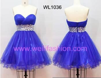 Short Pleated Beading Net Prom Dresses WL1036