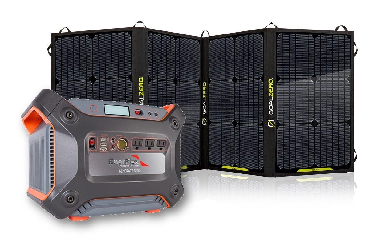 Enerplex 1230-watt Solar Generator Together With Goal Zero's 100-Watt Foldable Solar Panel ( Complet