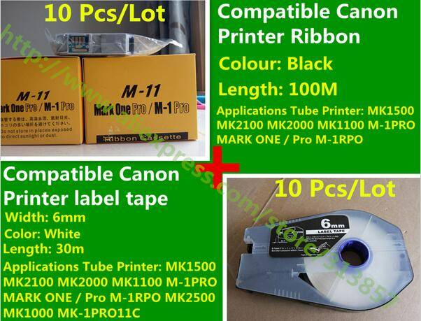 Tube Printer ink Ribbon And Compatible Cassette label tape For cable marker ID printer MK2500 MK1500