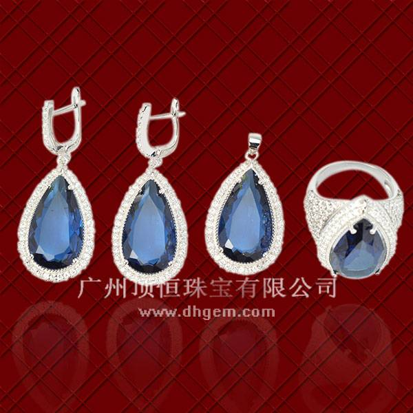 China Supplier Newest 925 Sterling Silver Jewelry Set With Blue Glass Colorful Stone Wholesale