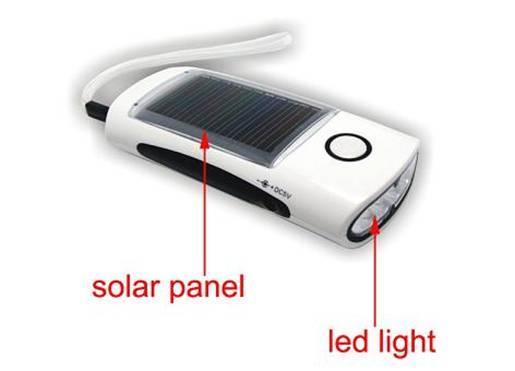 FL-810D Solar mini Flashlight / Torch 4pcs Ultra-bright LED, built-in battery