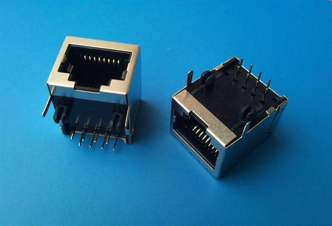 Side entry RJ45 connector shielded single ports 8p8c