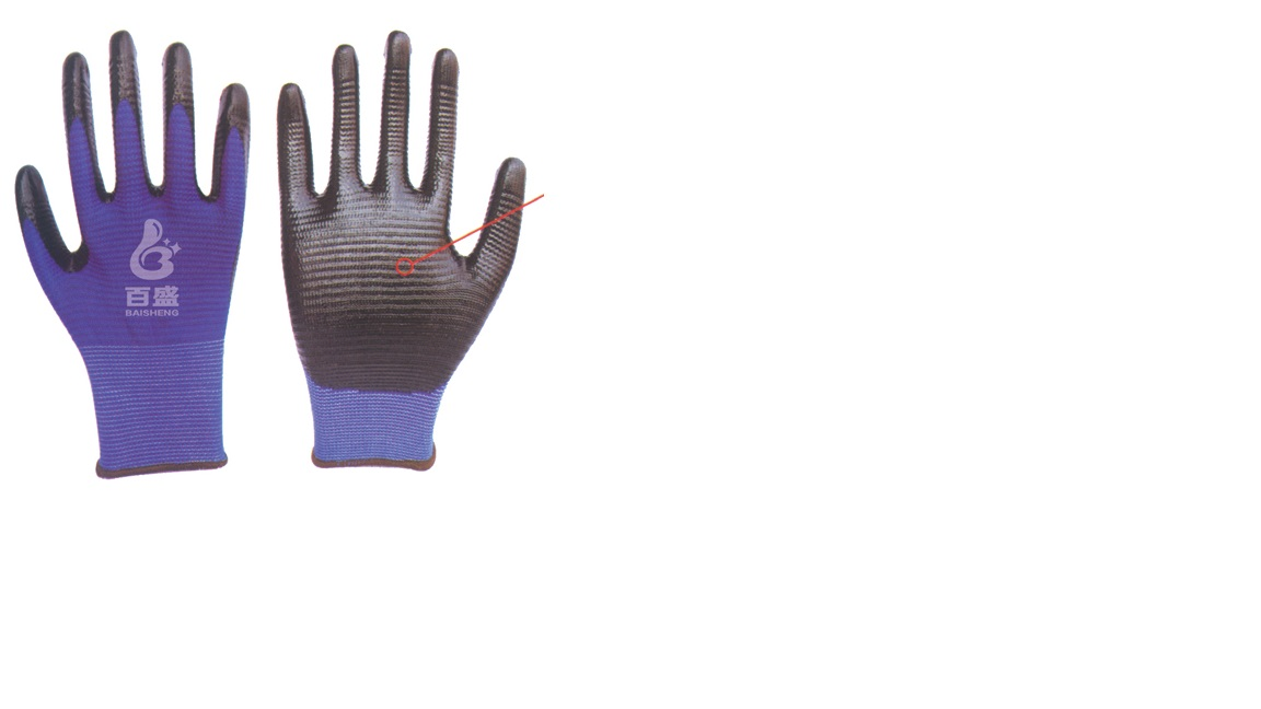 13G polyester zebra stripe glove with nitrile coated