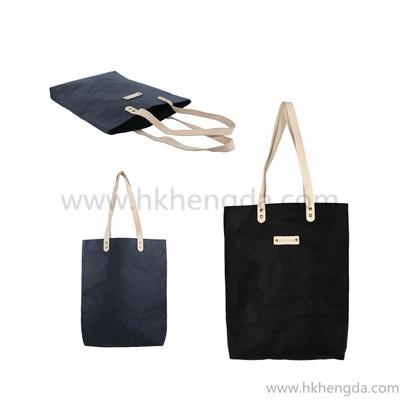 stitching black color washable kraft paper tote bag shopping bag