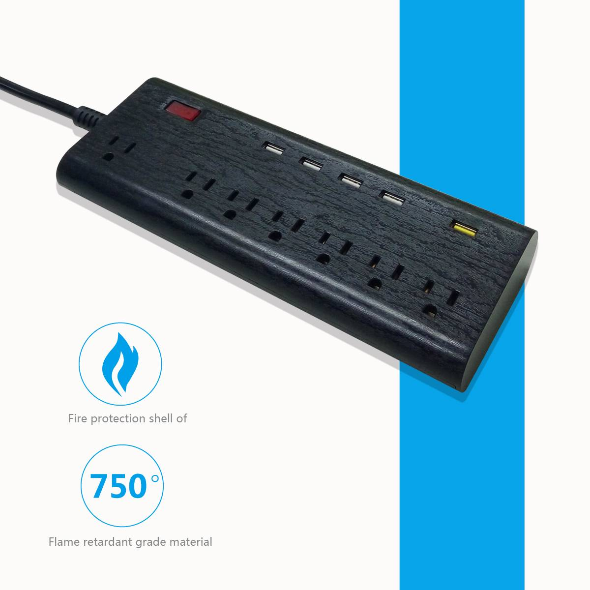 US type 7 way usb extension socket 125v 13a with FC3.0 fast usb charger port surge protection