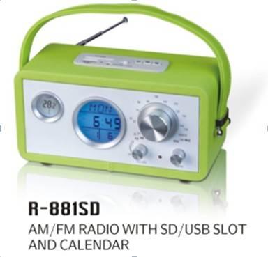 AM/FM RADIO WITH SD/USB SLOT&CALENDAR