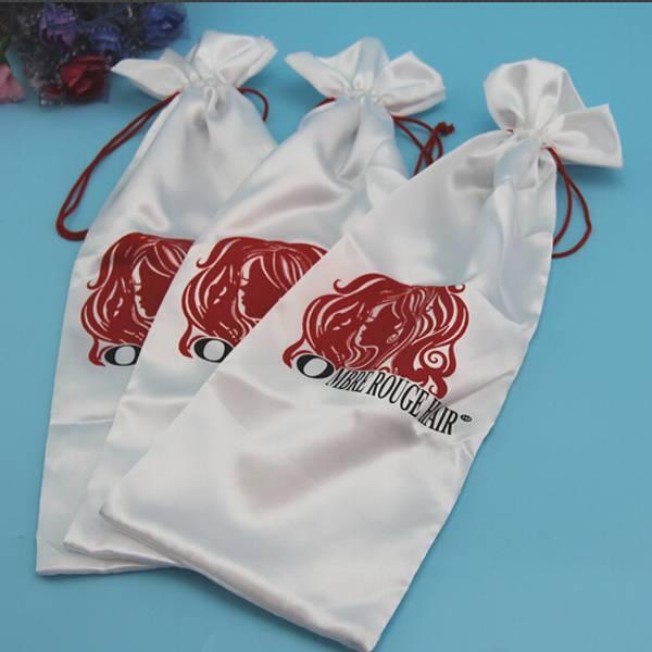 white satin drawstring bag with logo printed