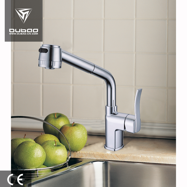 Household Vertical Faucet Chromed Surface Solid Kitchen Basin Faucet