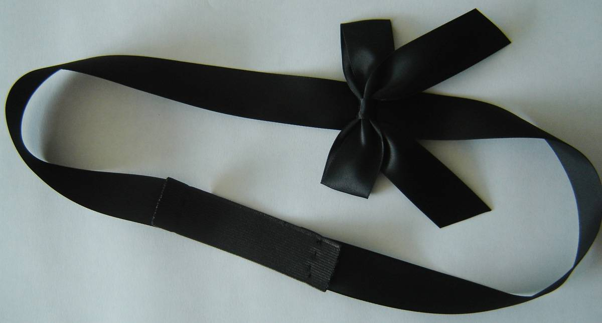 black double face satin ribbon butterfly bow with a small black elastic