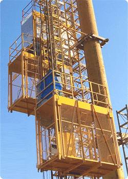 Construction lift in a construction job site