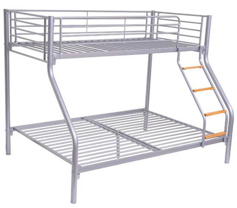 children kids seeper beds single double triple metal bunk bed, silver