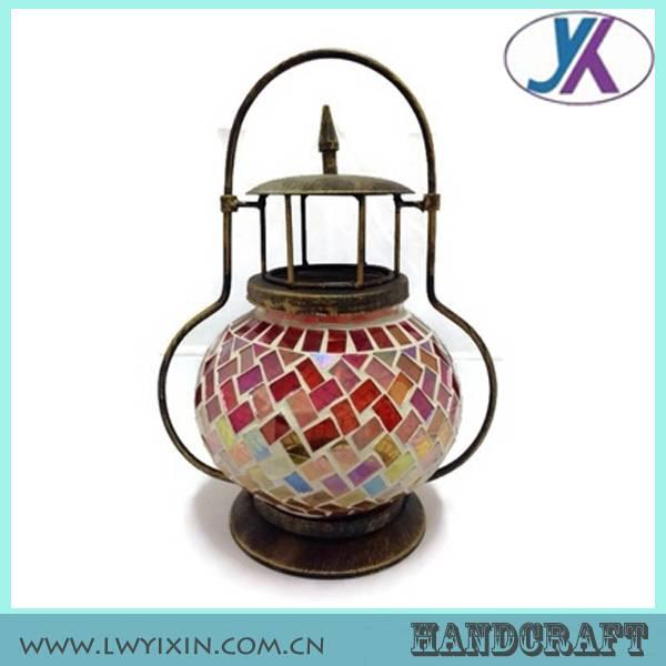 Replacement Chinese decoration solar metal mosaic glass antique-lantern