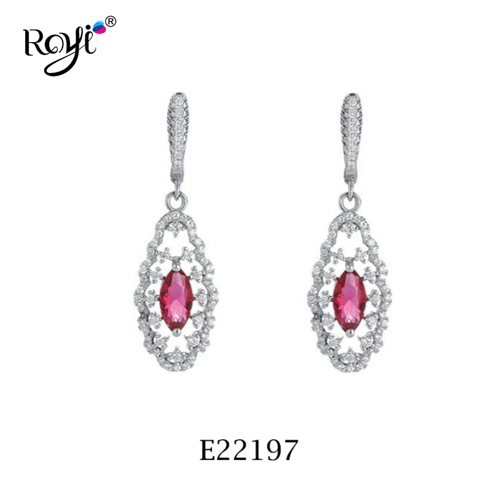 925 silver wedding earring with ruby stone