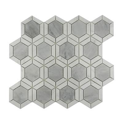 Hexagon carrara white marble mosaic