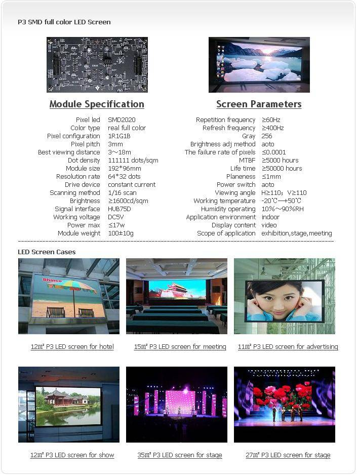 Selling Indoor P3 SMD 1R1G1B LED screen