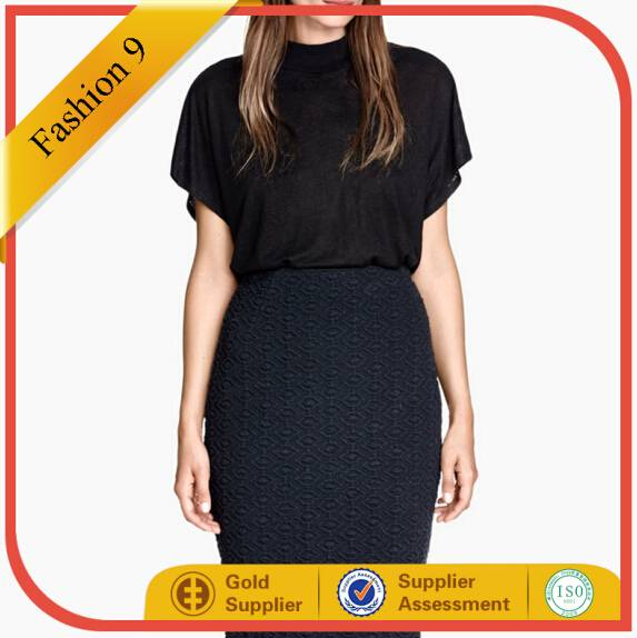 High Neck Black Knitted Top with Collar