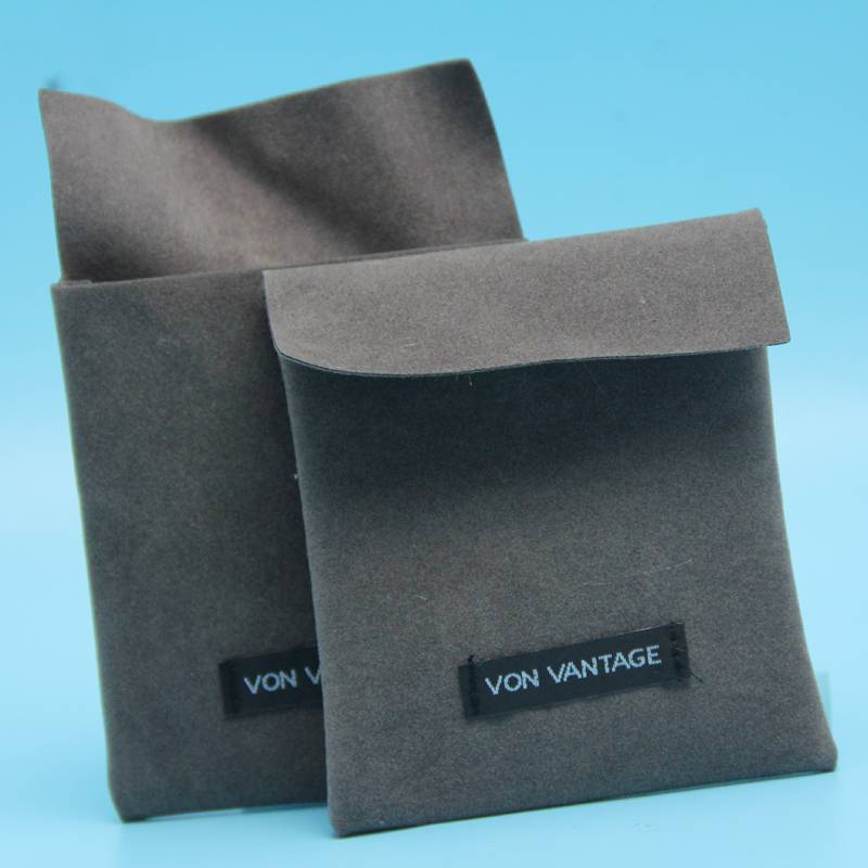 greu color velvet pouch with flap and label