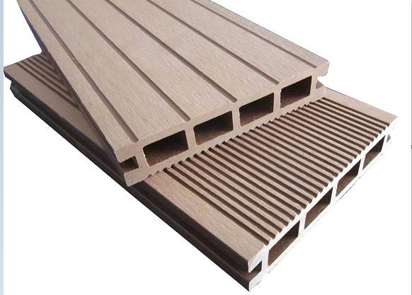 The outdoor landscape of wood plastic decking materials