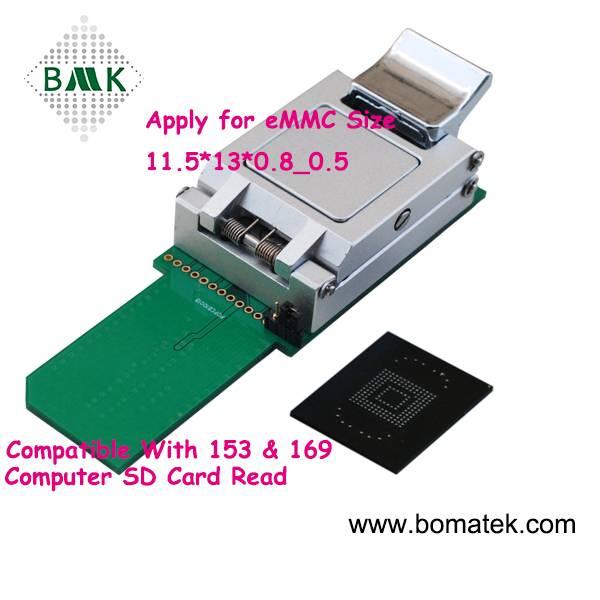 high performance BGA153 eMMC Nand flash testing socket with probe Apply to eMMC size 11.5x13_0.5mm