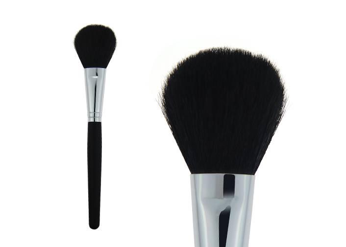 Bulb Shape Contour Blush Brush Goat Hair Metal Ferrule Black Wooden Handle Brush