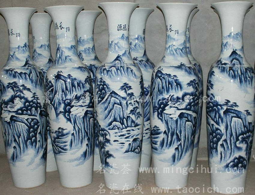 Large Big Chinese Hand Painted Blue and White Ceramic Floor Vases