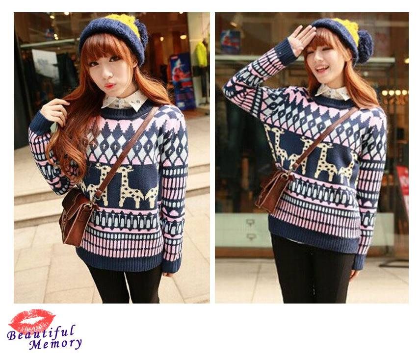 Navy Colorful Christmas Graffiti Round Neck Knit Sweater