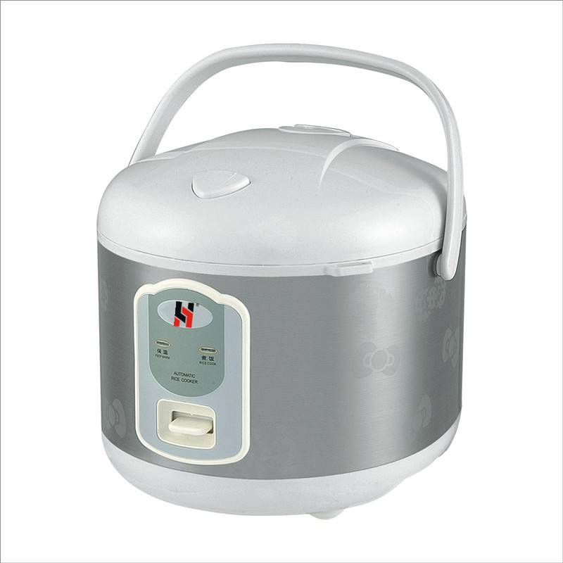 Deluxe rice cooker, stainless steel outbody with flower