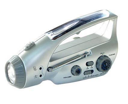 Solar/crank dynamo Flashlight with Charger/Radio(AM,FM)