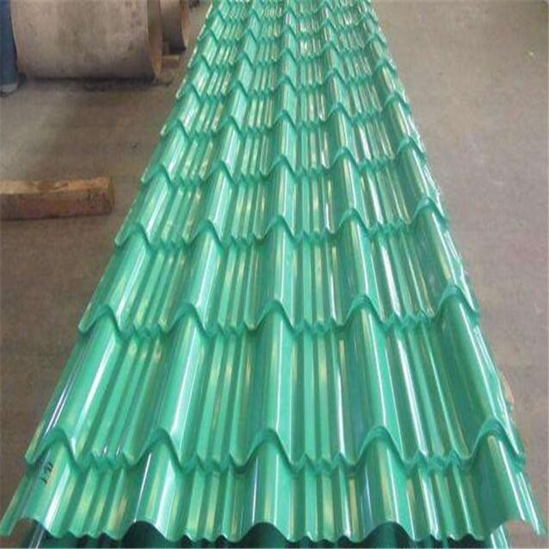 Green 0.30mm Thickness 1050mm Width Unsymmetrical Step Profiled Roof Tile