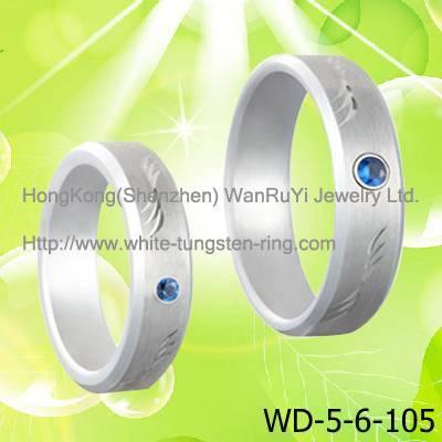 Sea Blue CZ Diamond Inlay Couple's White Tungsten Ring Hot Sales