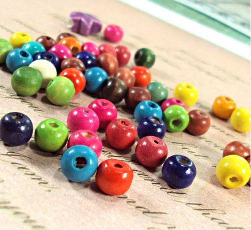 12mm colored wood craft beads
