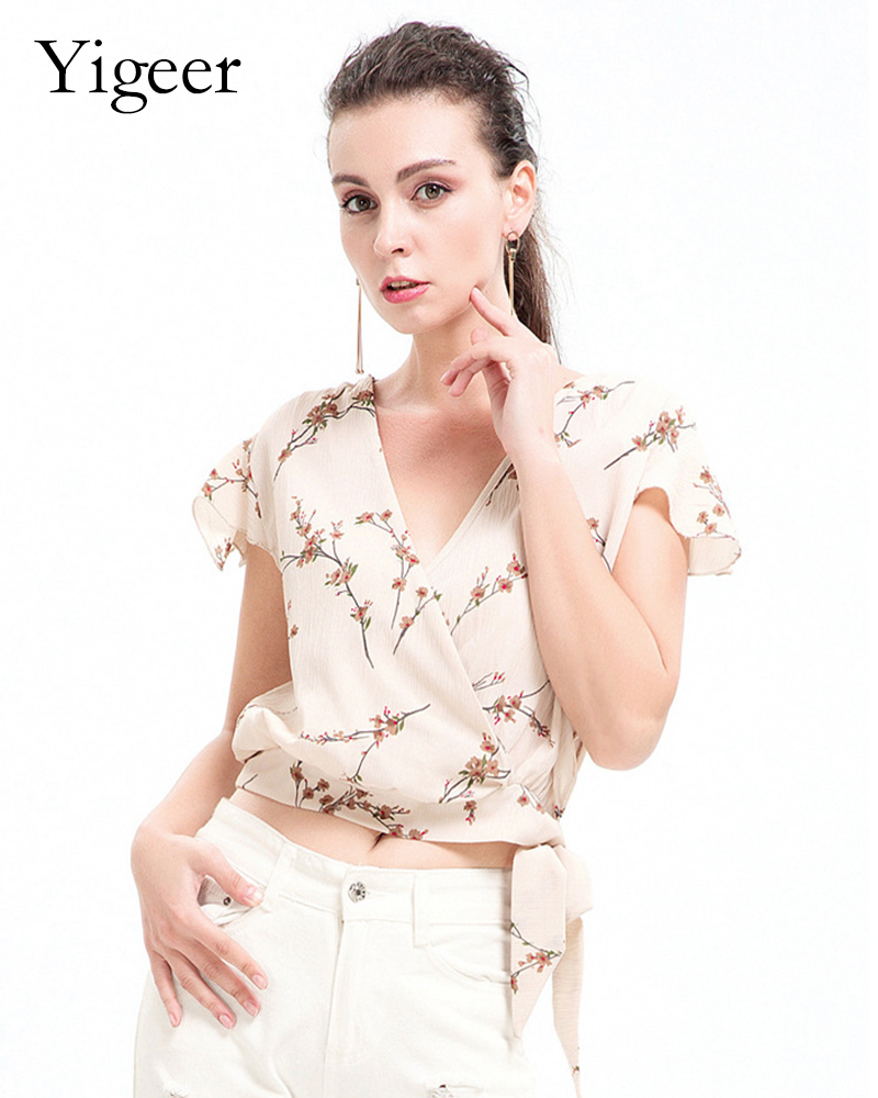 Short Sleeve Wrap Casual Floral Printed Ladies' Blouse Top