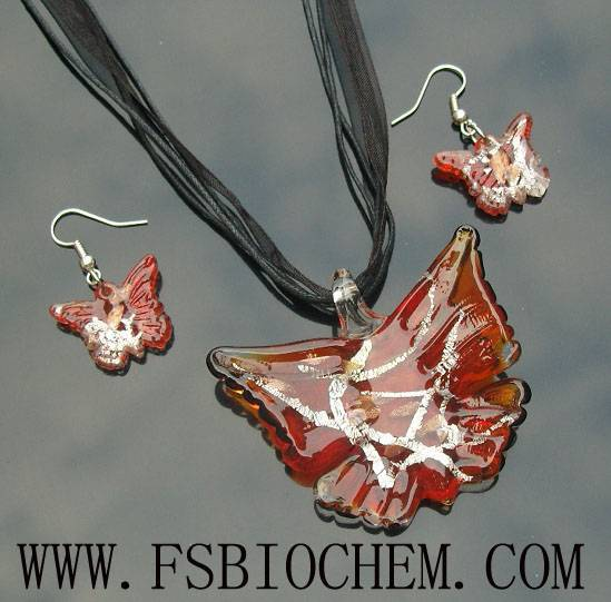 murano glass pendant Sets,lampwork glass pendant necklace earrings sets