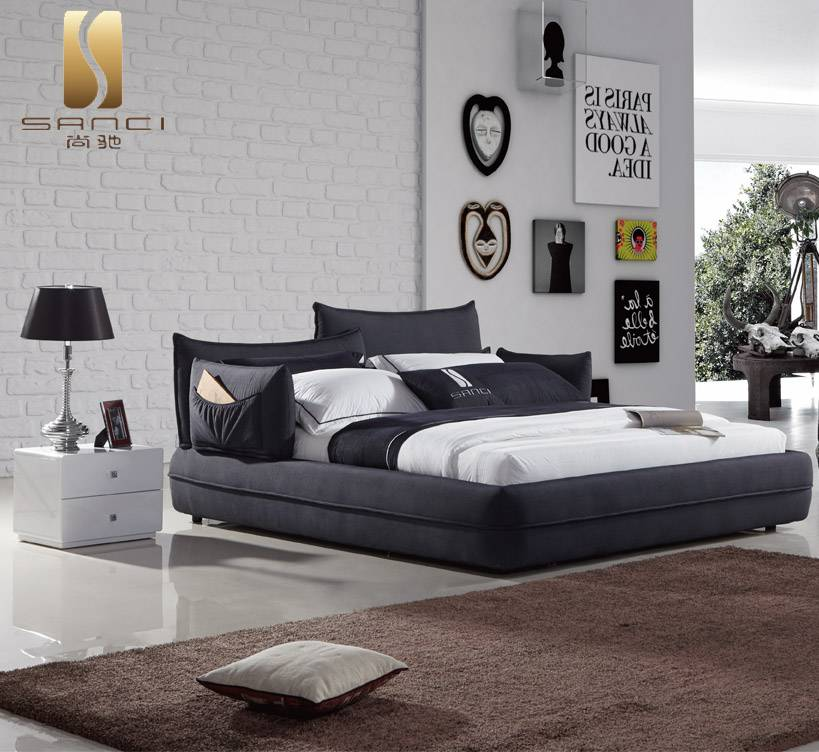 Top Quality New Modern Bedroom Furniture Fabric Upholstery Bed with Adjustable Side Pillows