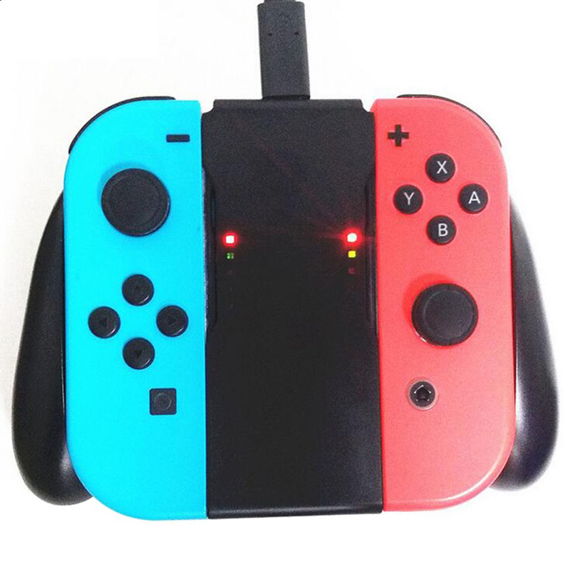 Grip Handle Charging Dock Station Charger Stand Holder for Nintend Switch NS Joy-Con Charging Statio
