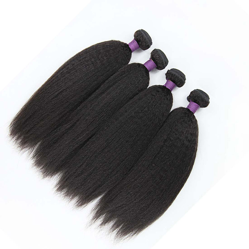 8A Malaysian Kinky Curly Human Virgin Hair Weave 3 Bundles With Lace Closure