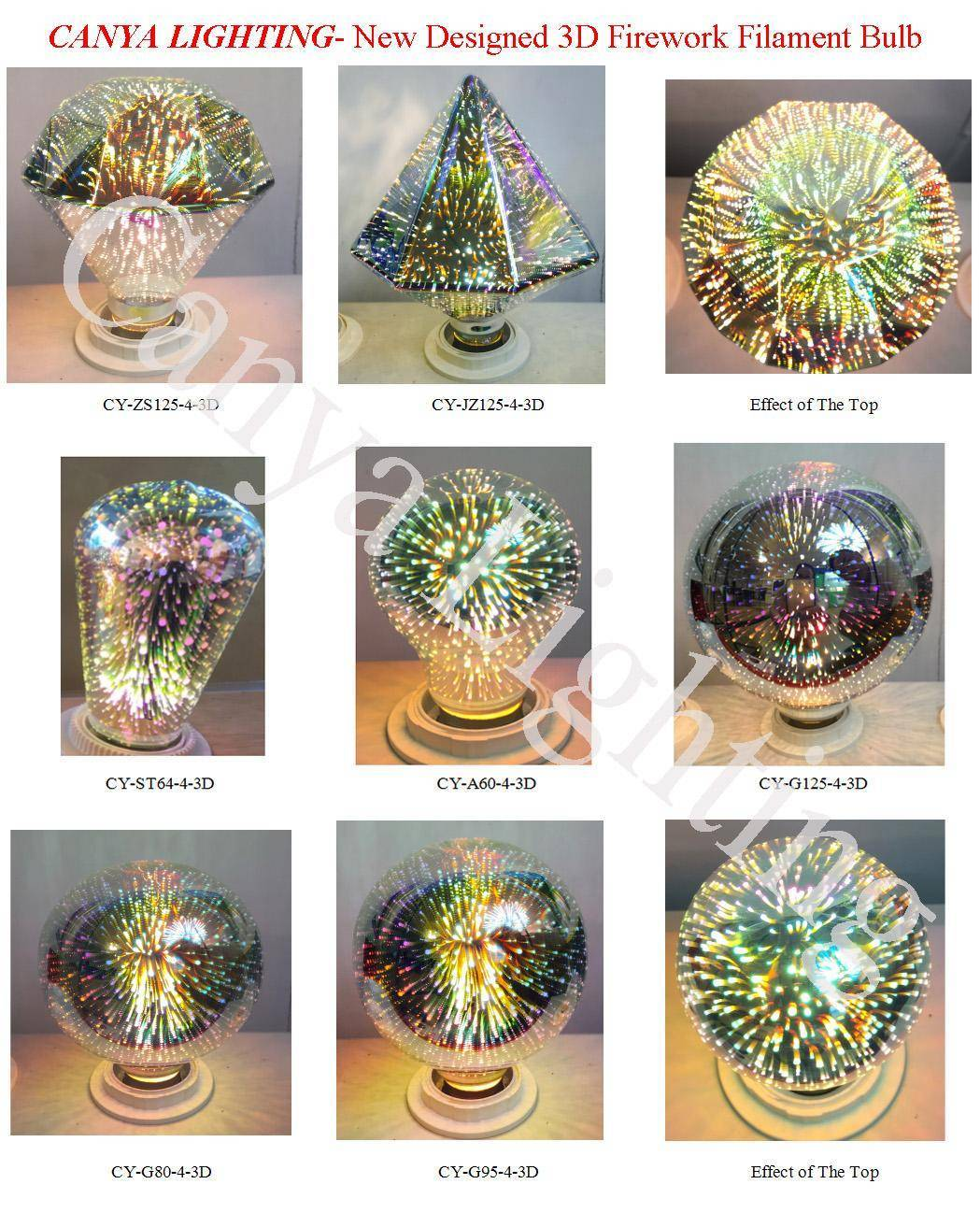 High Performance Christmas LED Lighting 3D Firework Filament Bulb