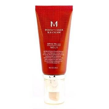 Missha M Perfect Cover B.B. Cream SPF 42 PA+++ 21 Light Beige, 1.69oz, 50ml