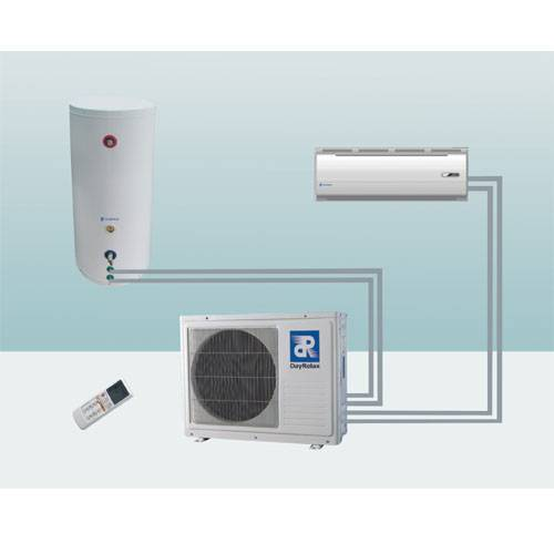 Heat pump air conditioner with water heater