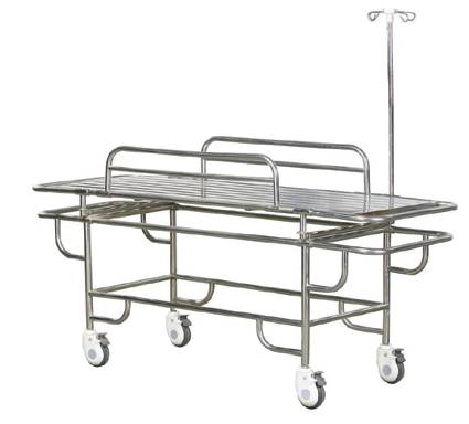 Stainless steel stretcher trolley with 4 wheels